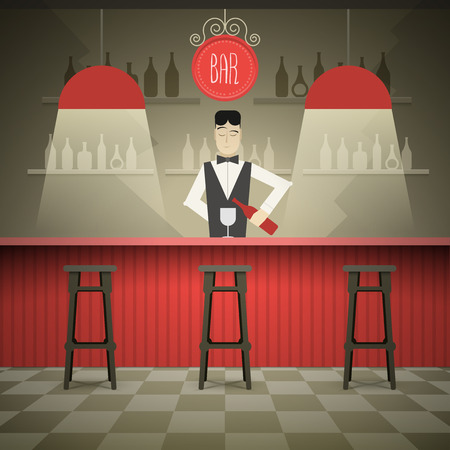 bar counter: Barman in the bar vector illustration.