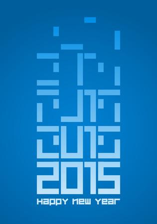 tetris: Vector 2015 celebration tetris concept poster. Illustration