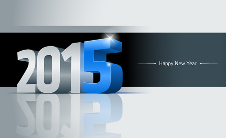 3D 2015 Happy New Year greeting card. Elements are layered separately. Easy editable.  Vector