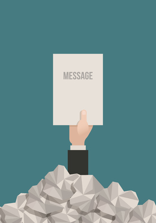 Businessman hand reaches out from a pile of paperwork with a message. Vector
