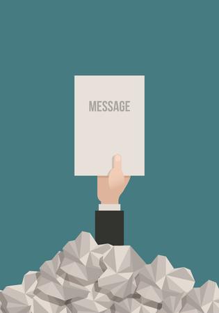 Zakenman hand bereikt uit een stapel papierwerk met een boodschap.