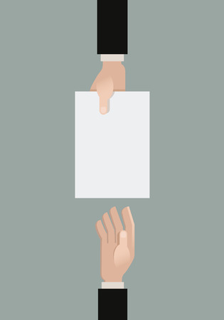 A hand giving a paper another hand.  Illustration