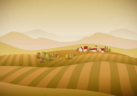 illustration of little village landscape with fields. Autumn version.  Vector