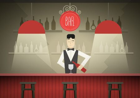 men bars: Barman in the bar vector illustration.