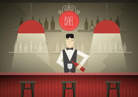 Barman nell'illustrazione bar vettoriale.
