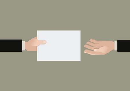 hand holding paper: A hand giving a paper another hand. Flat vector illustration.