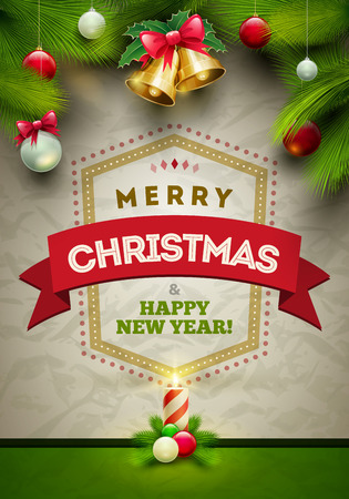 Vector Christmas Messages and objects on wrinkled paper background. Elements are layered separately in vector file.  イラスト・ベクター素材