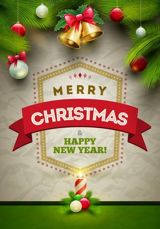 ベクトルのクリスマス メッセージとしわがある用紙の背景上のオブジェクト。要素は、ベクター ファイルで個別に配置されます。