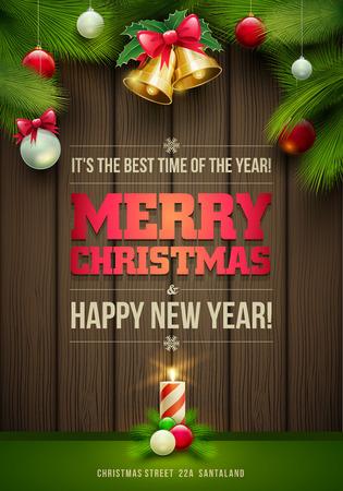 muerdago navideÃ?  Ã? Ã?±o: Mensajes Vector de Navidad y objetos en el fondo de madera oscura. Los elementos están en capas por separado en archivo vectorial.