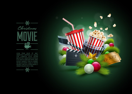 food backgrounds: Christmas ornaments, Popcorn box; Disposable scup for beverages with straw, film strip and ticket. Detailed vector illustration. Poster design template. EPS10 file.