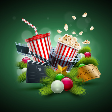 Christmas ornaments, Popcorn box; Disposable scup for beverages with straw, film strip and ticket. Detailed vector illustration. EPS10 file.