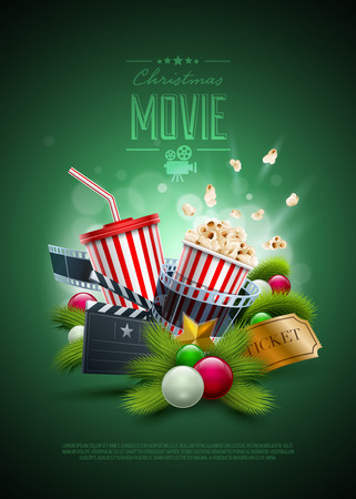 christmas movies: Christmas ornaments, Popcorn box; Disposable scup for beverages with straw, film strip and ticket. Detailed vector illustration. Poster design template. EPS10 file.