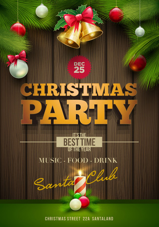 pine decoration: Vector Christmas Party poster design template.Messages and objects on dark wooden background. Elements are layered separately in vector file.