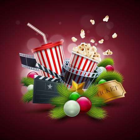 クリスマス映画の概念図。要素は、ベクター ファイルで個別に配置されます。