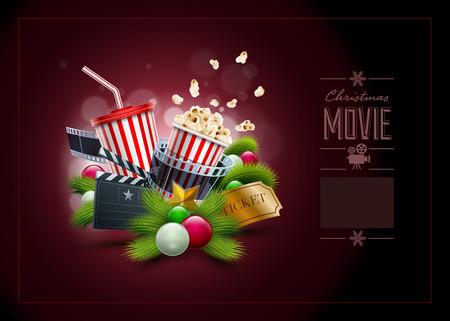 クリスマス映画のコンセプト イラストとデザイン テンプレート。要素は、ベクター ファイルで個別に配置されます。