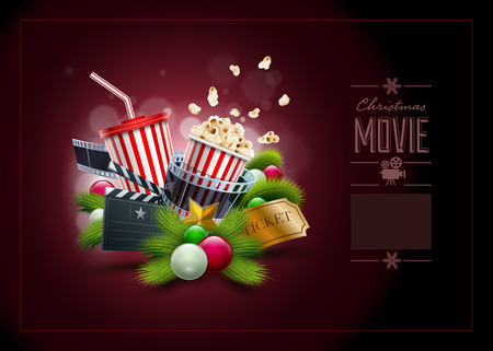 christmas movies: Christmas movie concept illustration and design template. Elements are layered separately in vector file.