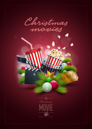 christmas movies: Christmas movie concept design template. Elements are layered separately in vector file.
