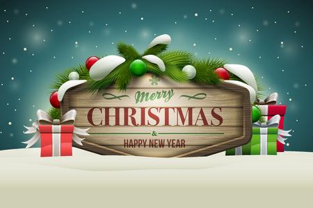 木製のクリスマス メッセージ ボードのベクトルの現実的なイラスト。要素は、ベクター ファイルで個別に配置されます。