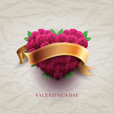 バレンタインのバラ  イラスト・ベクター素材