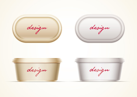 cream cheese: Plastic container mock up for butter, margarine spread, cream cheese, cocoa hazelnut cream, or yoghurt. All elements are layered separately in vector file.  Just 2 global colors used for container. Easy editable. No mesh.