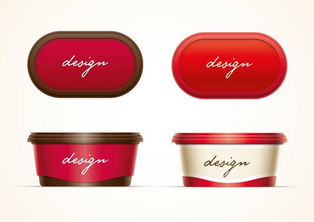 processed food: Plastic container mock up for butter, margarine spread, cream cheese, cocoa hazelnut cream, or yoghurt. All elements are layered separately in vector file.  Just 2 global colors used for container. Easy editable. No mesh.