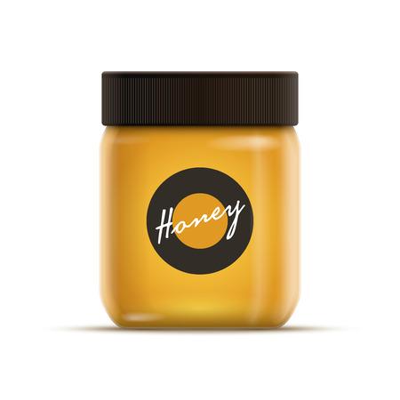 jam jar: realistic illustration of honey or jam jar.