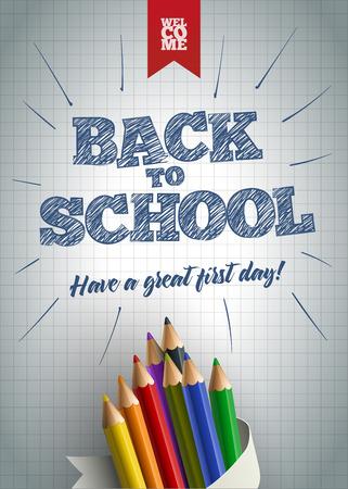 戻る学校ポスター デザイン テンプレートへようこそ。戻る学校テキスト手紙に色鉛筆で描かれました。ベクトルの図。要素は、ベクター ファイル