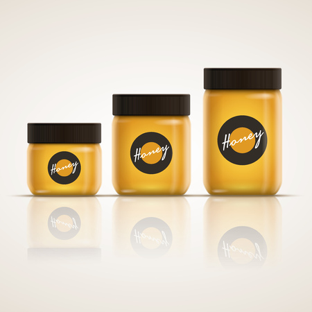 tall glass: Vector realistic illustration of honey or jam jar collection. Yellow is a global color. Easy editable. CMYK mode. Print ready.