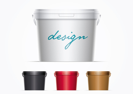 paint container: Vector illustration plastic bucket. Ideal for your mock up. Elements are layered separately in vector file. Colors are just two global colors. Easy editable.