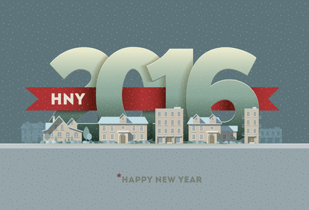 scene: 2016 Happy New Year in town. Vector greeting card design element.