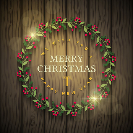 christmas backgrounds: Vector Christmas wreath greetings. Elements are layered separately in vector file.