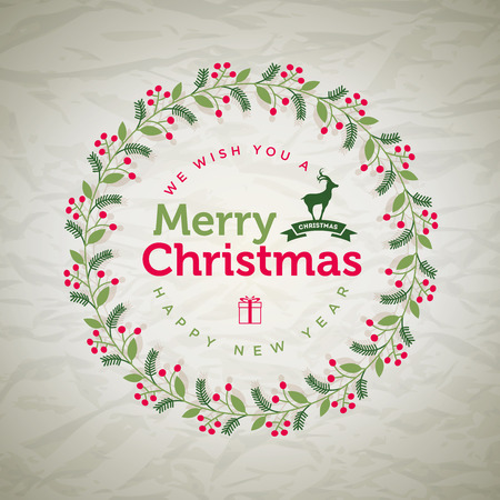 separately: Vector Christmas wreath greetings. Elements are layered separately in vector file.