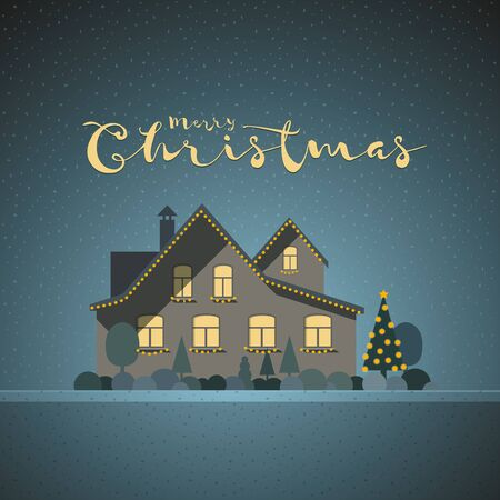 christmas time: Vector flat illustration of winter house in Christmas time.