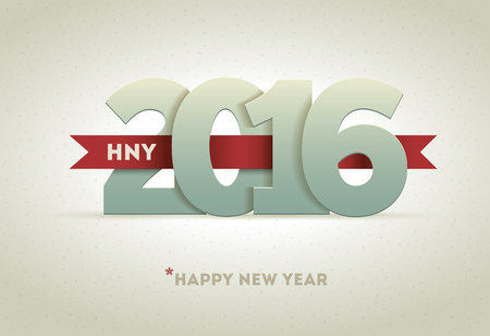 happy: 2016 Happy New Year greeting card design element.
