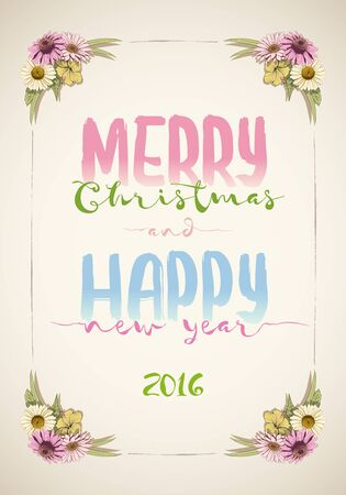 Christmas and happy new year message board with colorful vintage hand drawn flowers. Illustration