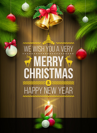 wooden frame: Vector christmas objects and message on wooden background. Elements are layered separately in vector file.