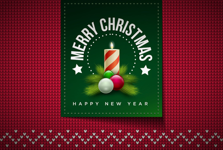 evening ball: Merry Christmas and Happy New Year message on northern style vector knitted pattern. Elements are layered separately in vector file. Global colors. Easy editable.