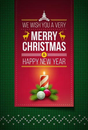 green background pattern: Merry Christmas and Happy New Year message on northern style vector knitted pattern. Elements are layered separately in vector file. Global colors. Easy editable.
