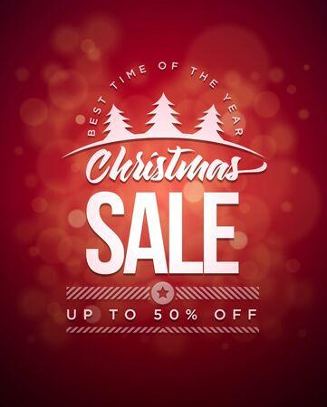 discount poster: Vector Christmas Sale typographic design.