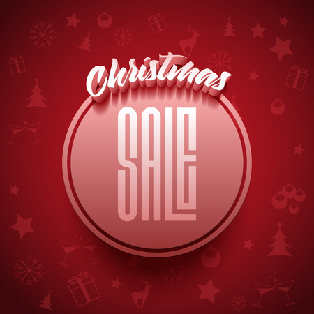 christmas party background: Vector Christmas Sale typographic poster design.