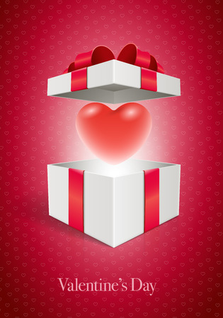 valentine card: Vector Valentines Day design template. Heart in open gift box. Elements are layered separately in vector file.