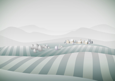 separately: Vector illustration of little village landscape with fields. Winter. Elements are layered separately in vector file.