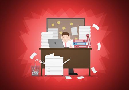 Stressvolle zakenman in bureau met te veel stapel papier en de map op zijn bureau. Vector illustratie. Elementen zijn afzonderlijk gelaagd in vector bestand. Gemakkelijk bewerkbare.