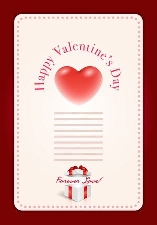 open file: Vector Valentines Day design template. Heart in open gift box. Elements are layered separately in vector file.