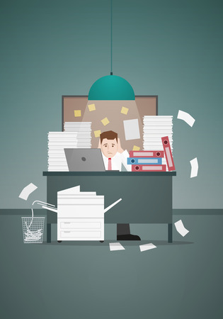 paper stack: Stressful businessman in office with too many stack of paper and folder on his desk. Vector illustration. Illustration
