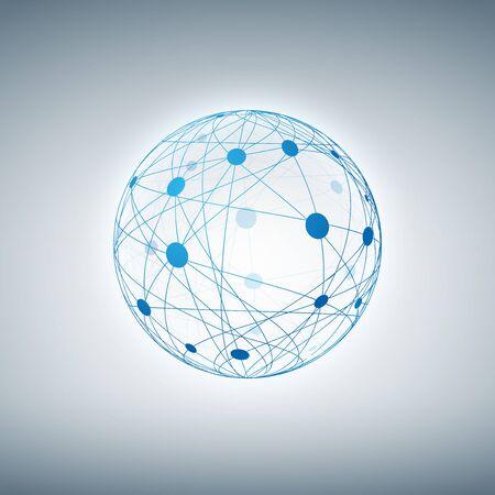 Sphère avec des points et des lignes connectées.