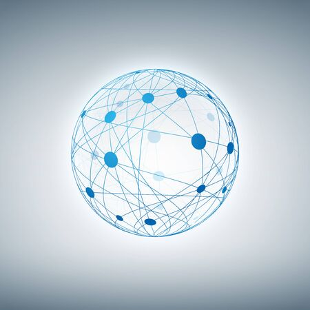 Sphere mit verbundenen Punkten und Linien.