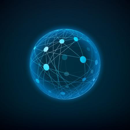 Sphere mit verbundenen Punkten und Linien. Layered Vektor-Illustration. Vektorgrafik