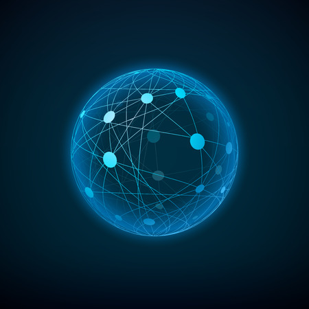 layered sphere: Sphere with connected dots and lines. Layered vector illustration. Illustration