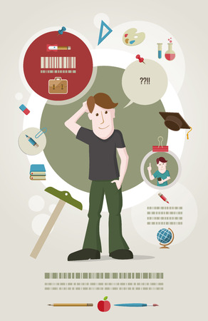 futures: Young male student standing and confused about education. Education concept illustration and poster design template.